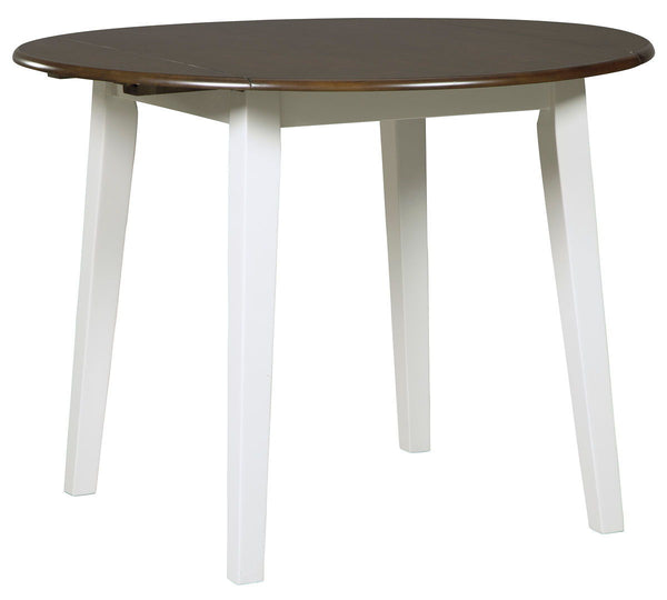 Woodanville - Cream/Brown - Round DRM Drop Leaf Table