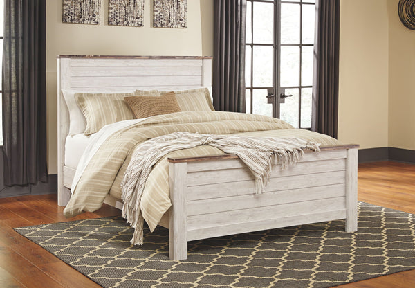 Willowton Whitewash Queen Panel Bed