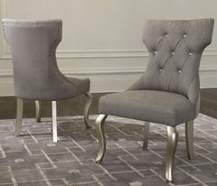 Coralayne - Silver/White - Dining UPH Side Chair