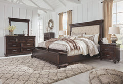 Brynhurst Dark Brown King Uph Storage Bed w/ Dresser & Mirror