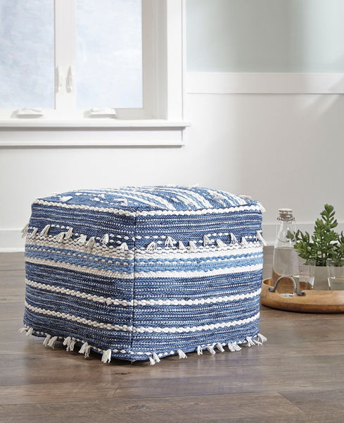 Shop Ashley Furniture Anthony Blue and White Pouf at  Raley's Home Furnishing