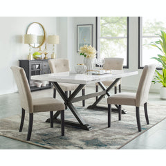 Lexi White Marble Top Dining Table