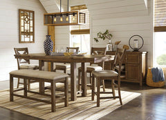 Shop Ashley Furniture Moriville- Grayish Brown Table, 4 Barstools& Double Uph Bench - Online Exclusive at  Raley's Home Furnishing