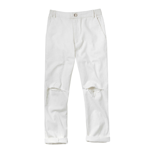 Broken basic pants white