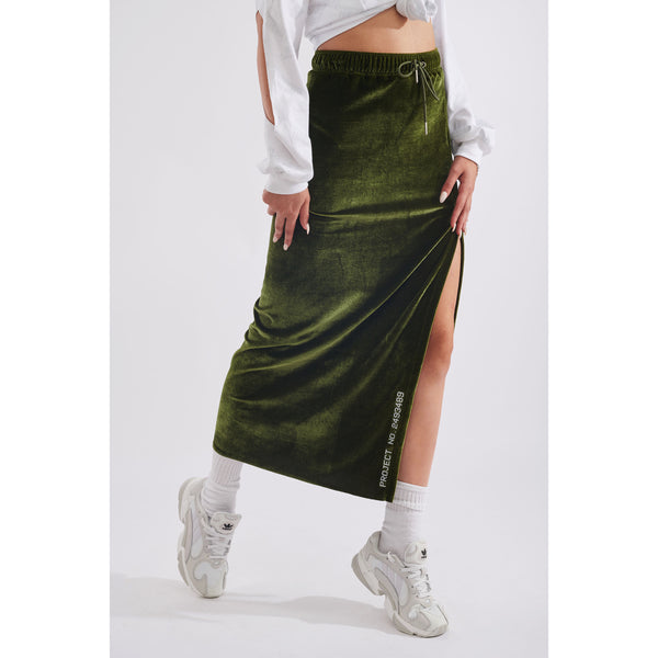 Stuff velour skirt army green