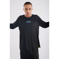 Mostly human raglan long sleeve black