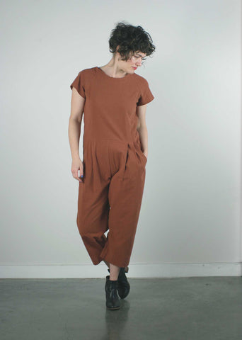 goa jumpsuit by pillar in copper made in vancouver, short person jumpsuit