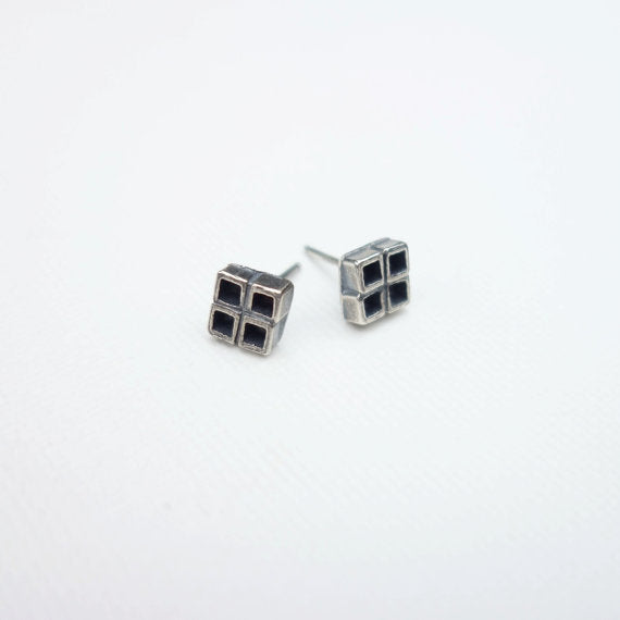 *Four Square Studs Sterling Silver
