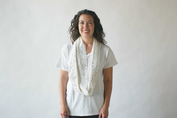 argaman & Defiance _ velouria _ infinity scarf _ white with black speckle 3.jpg