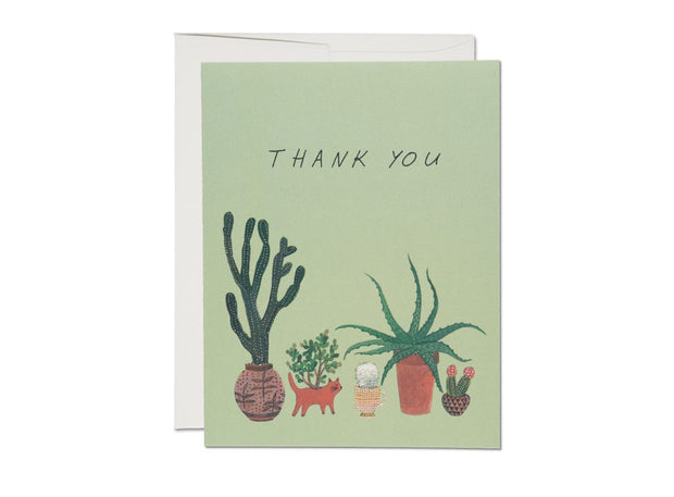 Thank you card with five planters with different cacti
