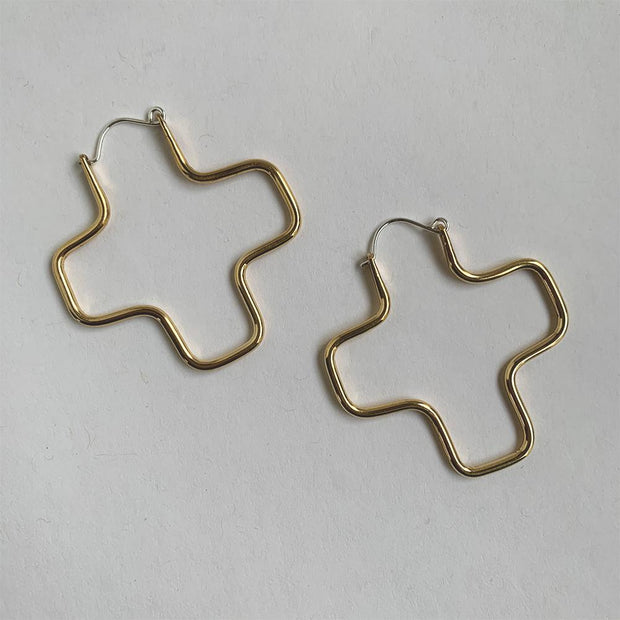 Plus Earrings, Brass or Silver
