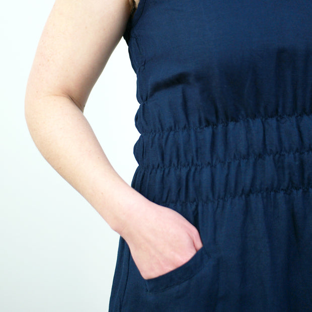 Fiji Dress, Navy Linen