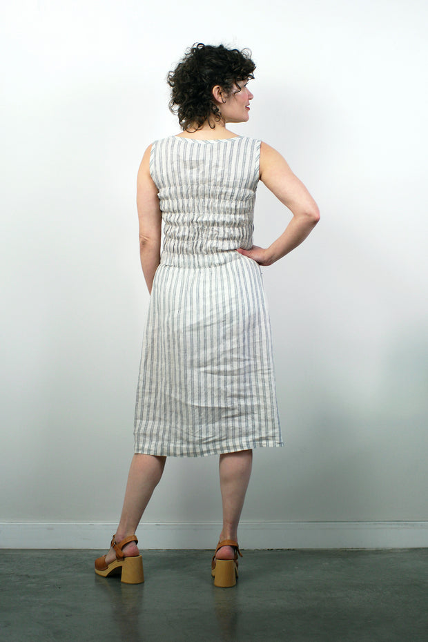 Fiji Dress, French Linen Stripe