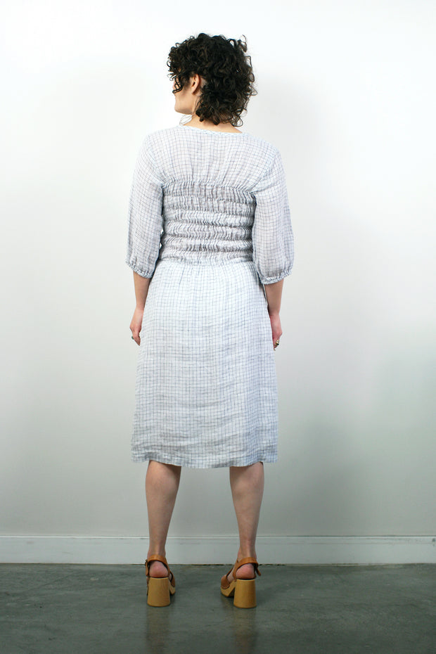 Fiji Dress W/Sleeve, Silver/Navy Grid Linen