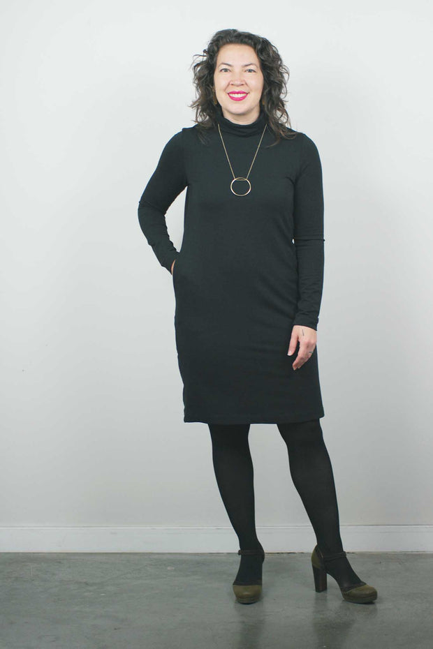 Turtleneck Dress, Black