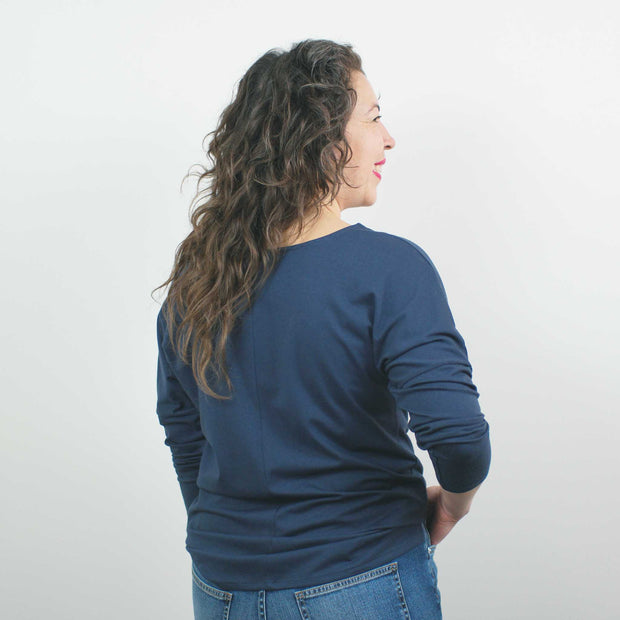 Long Sleeve Top, Denim Blue