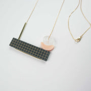Pia Necklace, Gray, Blush Goldfill