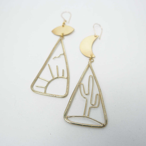 East & West Earrings, Brass