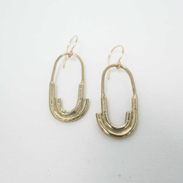 Roam Earrings, Brass