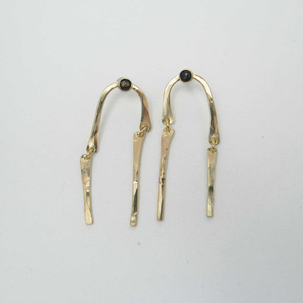 Spill Earrings, Obsidian + BRass