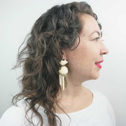 Moondance Earrings, Obsidian + Brass