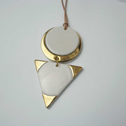Seer Double Necklace, White/Gold