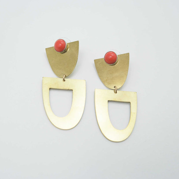 Montlake Stone Earrings, Coral