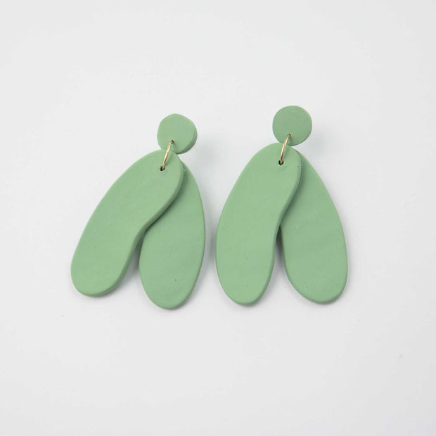Form Earrings, Sage