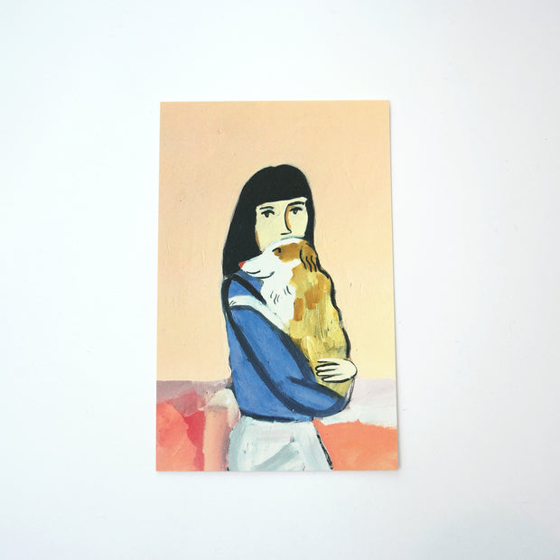 Postcard, Girl with Dog