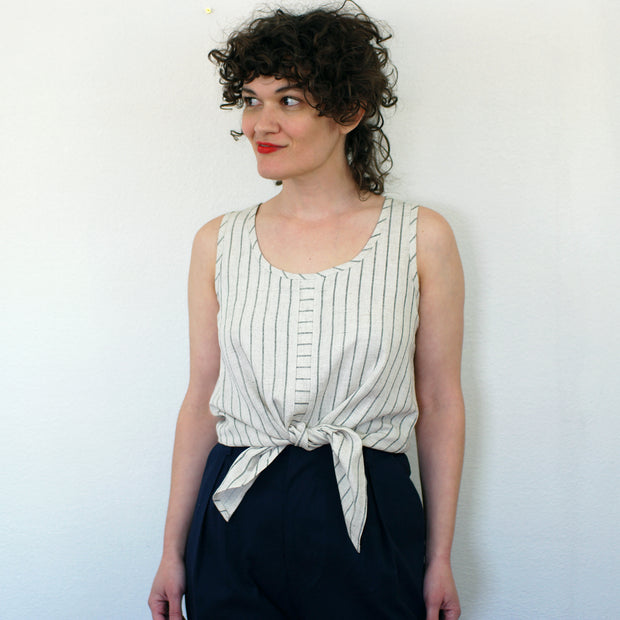 Oasis Top, Striped Linen