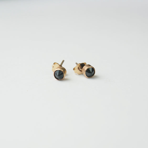 Black Spinel Spike Posts, 14k Goldfill