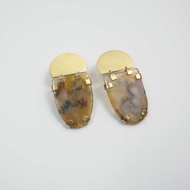 Kosmos Earrings, Agate + Brass