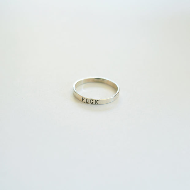 Fuck Stamped Kassilina Ring, Sterling Silver