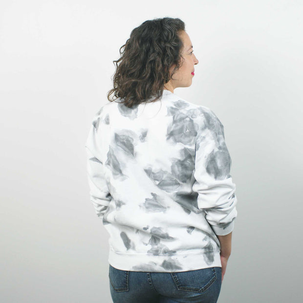 Marble Fleece Crew, Blk/Grey