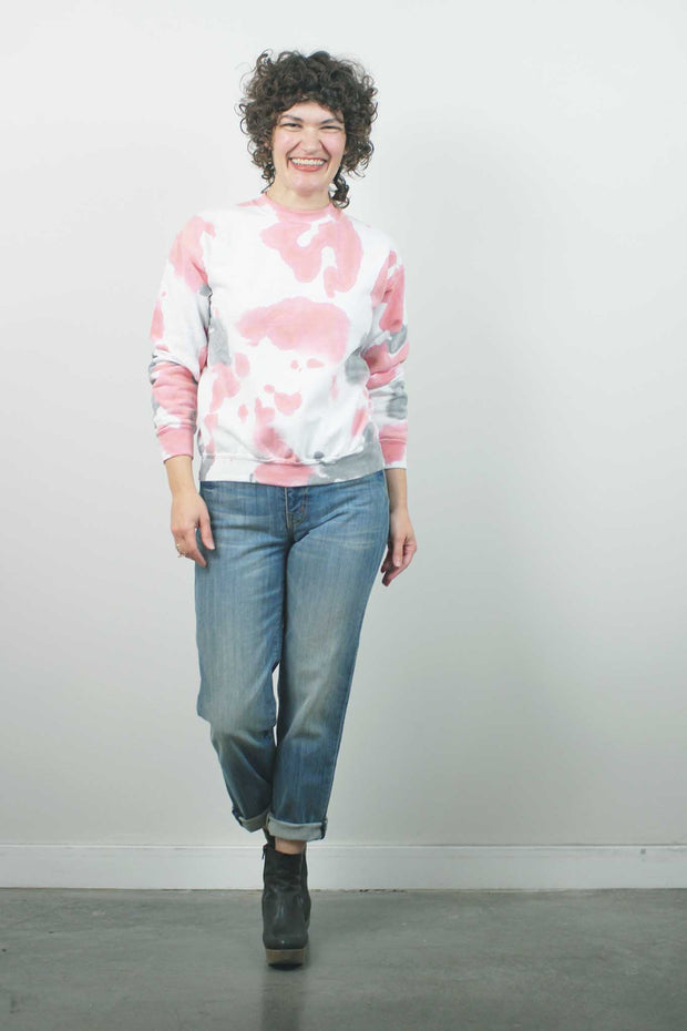 Marble Fleece Crew, Blush/Grey