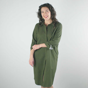 Long Sleeve Shirt Dress, Olive
