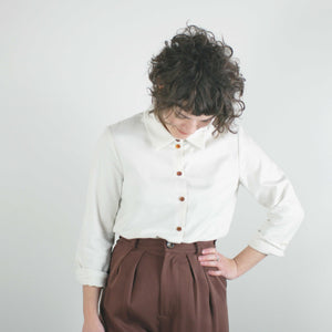 Long Sleeve Button Up Shirt, Cream