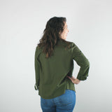 Long Sleeve Button Up Shirt, Olive