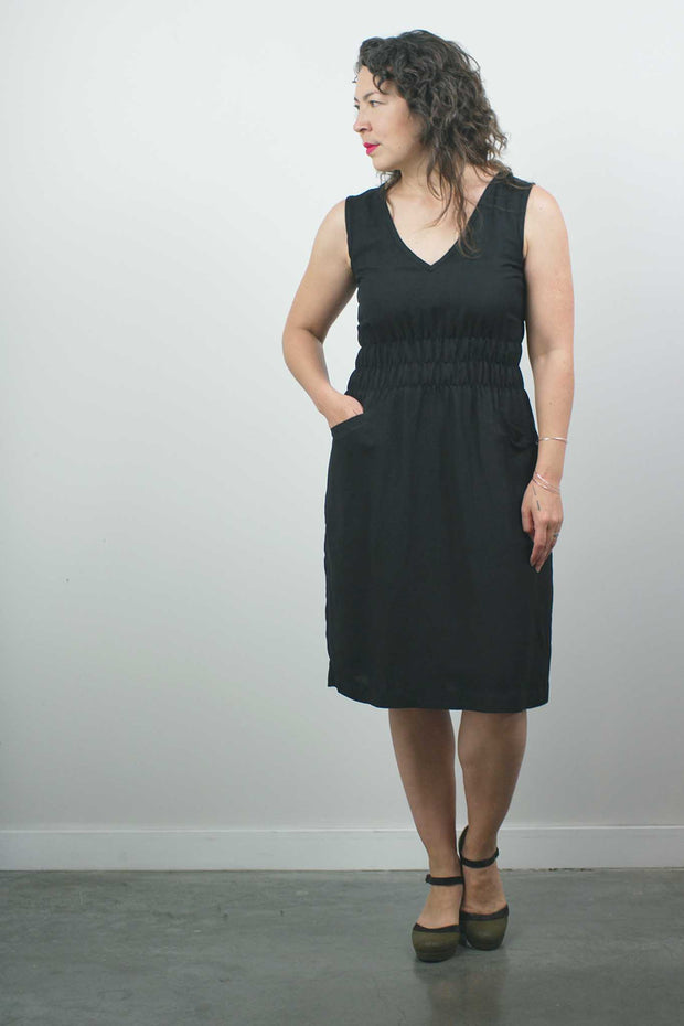 Fiji Dress, Black Linen