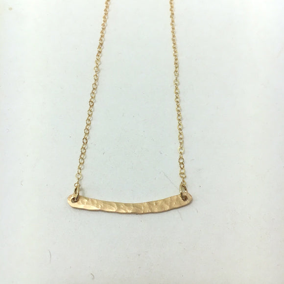 Hammered Bar Necklace, GF