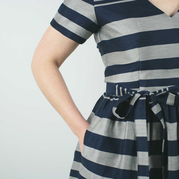 Gambia Dress, Navy Stripe