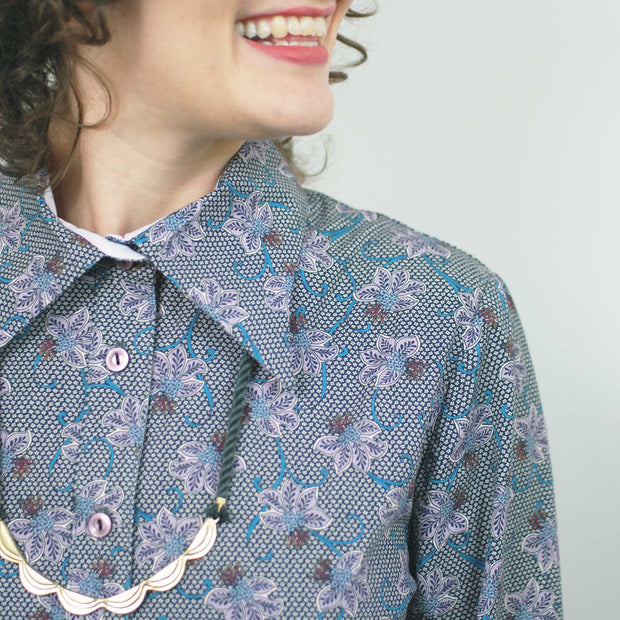 Harriet Button-Up, Lavender Print
