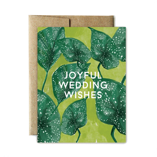 Ferme a Papier Card, Spotted Leaf Wedding Wishes