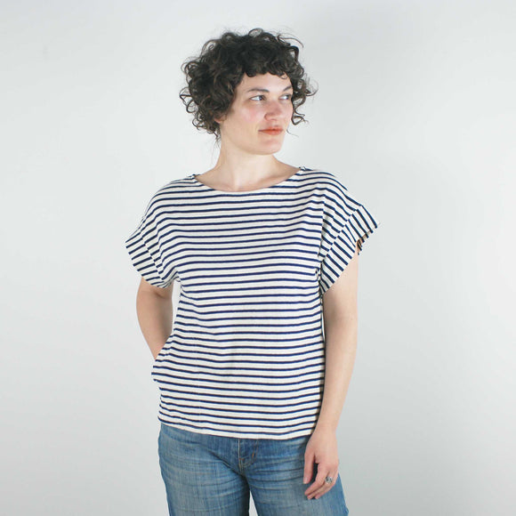 Taos Top SS , Fr Navy Stripe