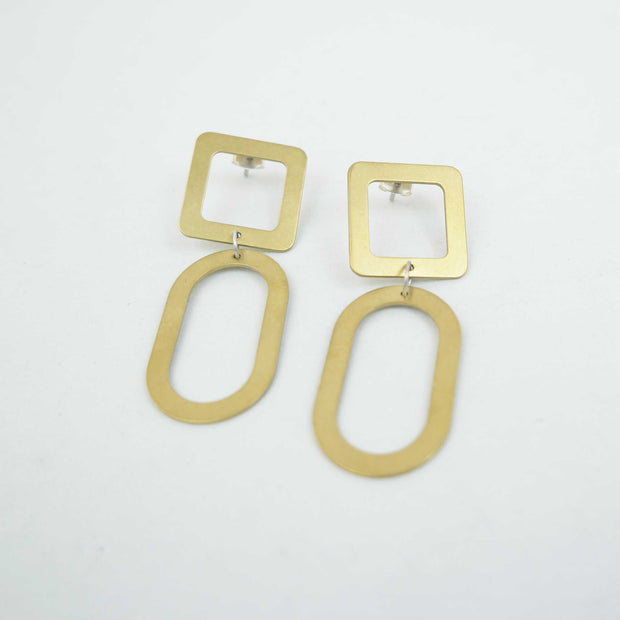 Small Square Oval Earrings