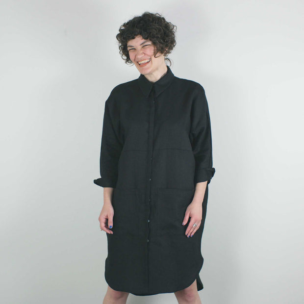 Anne Marie Shirt Dress, Black
