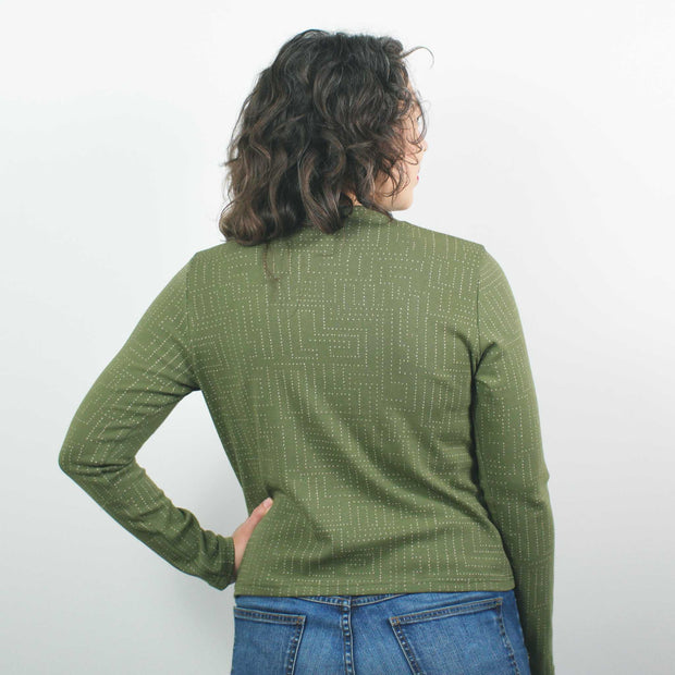 Mock Neck Rib, Avocado Labyrinth