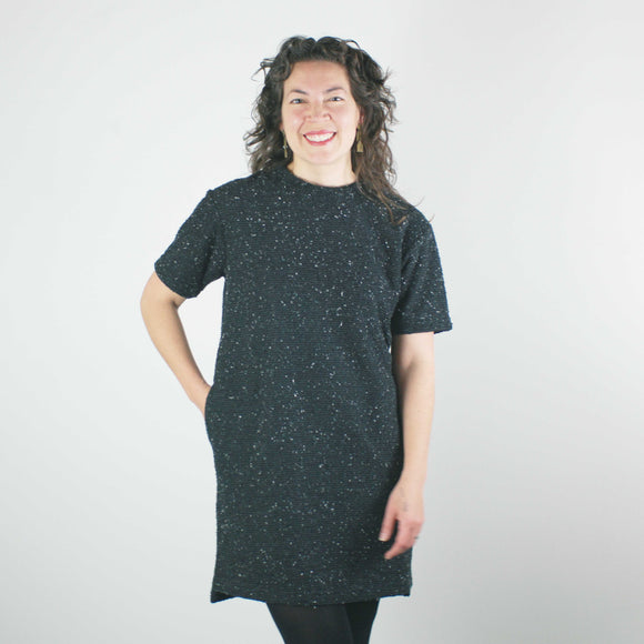Pebble Knit Dress, Black