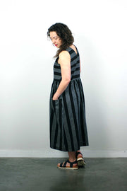 Perpignan Dress, Black Stripe