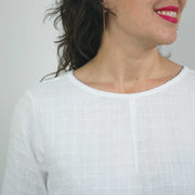 Pin Tuck Blouse, White Windowpane